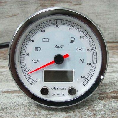 Acewell CA085 210 KM/H Speedo White/Chrome
