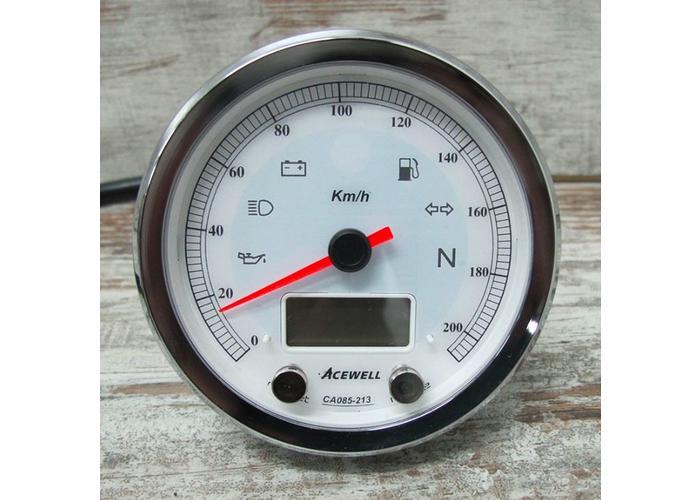 Acewell CA085 210 KM/H Speedo Weiss / Chrom