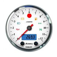 Acewell CA085 12.000RPM Speedo White / Chrome