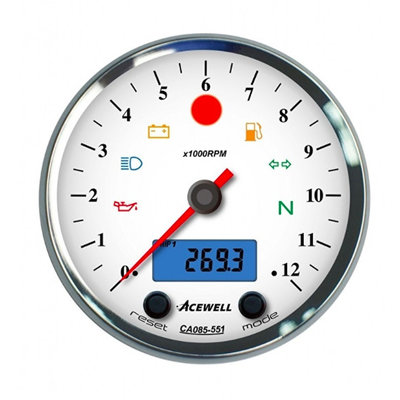 Acewell 12,000RPM Counter Chrome Housing and White Dial