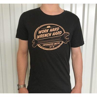 """T-shirt """"Work Hard, Wrench Hard"""""""