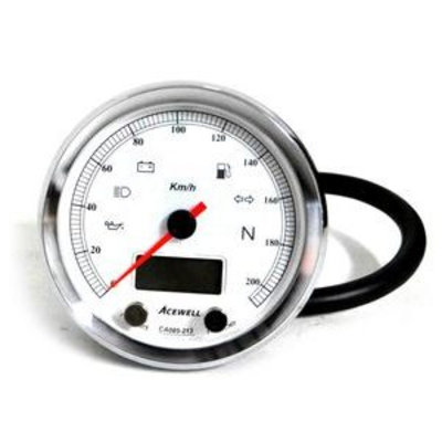 Acewell CA085 210 KM/H Speedo White/Chrome