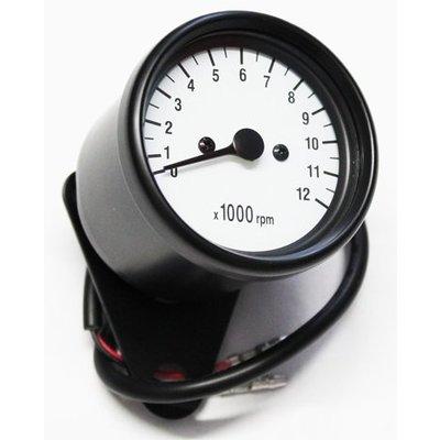 12.000 Drehzahlmesser Tachometer 60mm Elektrisch Schwartz/Weiss