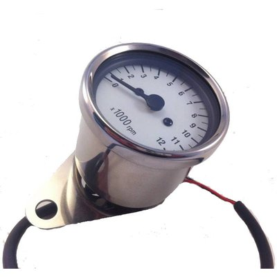 1: 4 Mechanical (cable) Tachometer White / Chrome