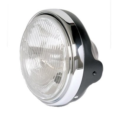 "Shin Yo 7"" Black and Chrome Cafe Racer Headlight Universal"