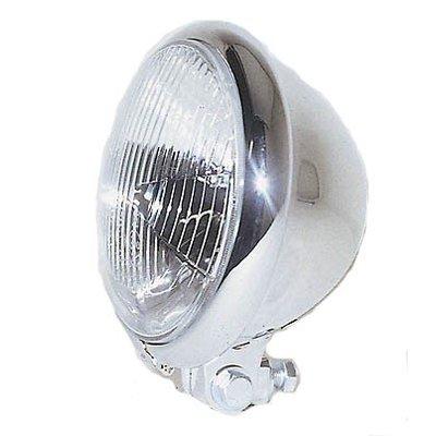 "Shin Yo 5.75"" Cafe Racer Headlamp H4 Bates Style , Chrome, E-mark"
