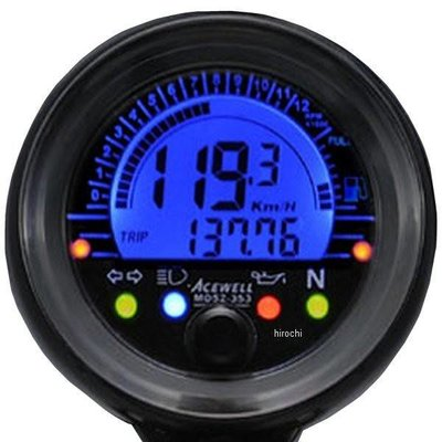 Acewell 052-253S Mini Digitale Speedometer Km/h & RPM - Black