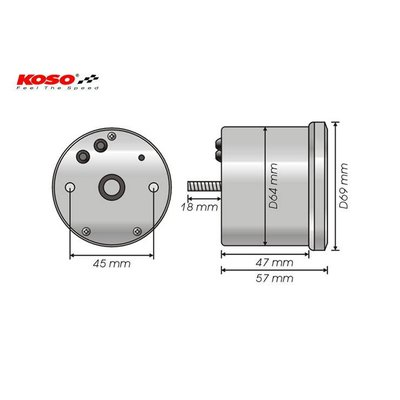 KOSO D64 Chrome Style Speedometer + Telltales (max. 160 kmh)