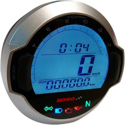 KOSO D64 DL-03SR Zilveren Snelheidsmeter+ indicator lampjes (LCD Display)