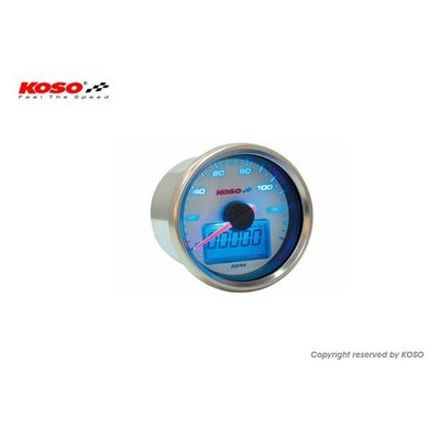 KOSO Speedometer  GP Style D = 55mm 140mph / 220km / h White / Blue