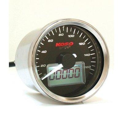 KOSO (max. 160 km / h) D55 GP-Modell Snelheidsmeter Zwart, Wit Verlicht