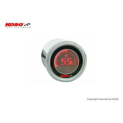 KOSO D48 Volt Meter (Zwart LCD - Rood)