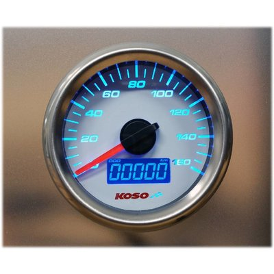 KOSO (max 160 kmh / mph) D48 GP Style Speedometer, ODO, Trip, White Face