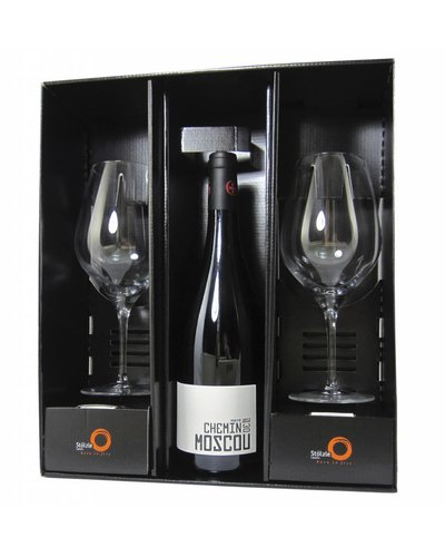 Relatiegeschenken Geschenkdoos Gayda Chemin de Moscou & 2 Stölzle Exquisit Bordeaux