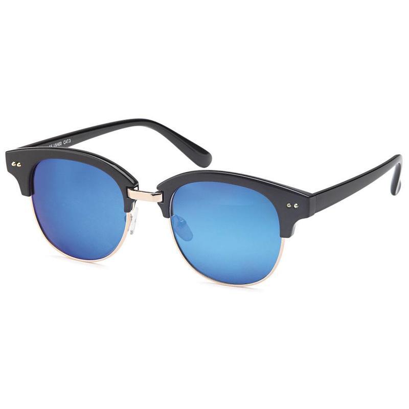 Blauwe spiegelglazen clubmaster zonnebril - Zonnebrillenking.nl ... eb9a8aba86d2
