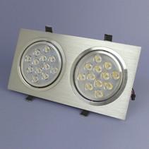 Dubbele LED Inbouwspot 12 Watt Warm Wit Dimbaar