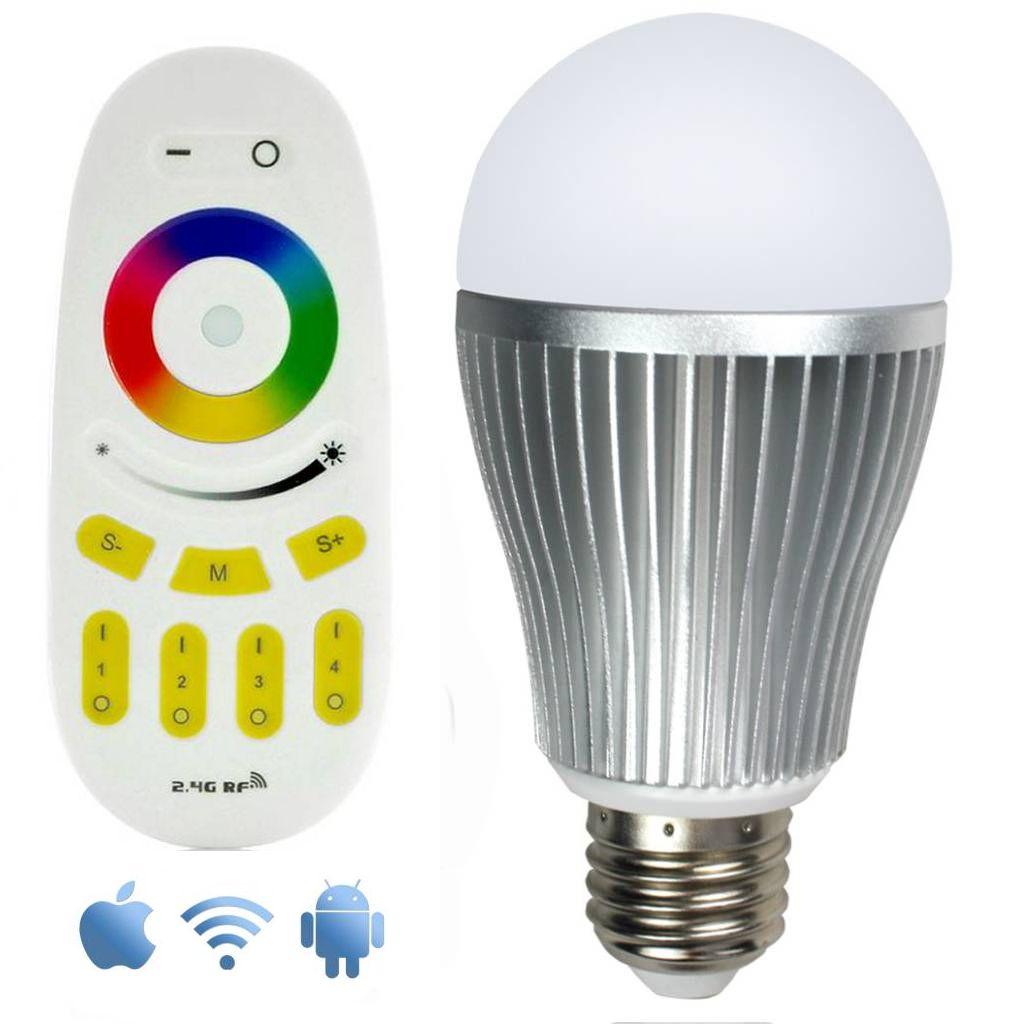 Wifi RGBW 9W LED Lamp met App en Afstandsbediening