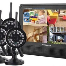 Wireless Security Set with 4 Wireless Cameras with Screen