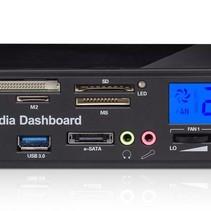 USB 3.0 Media Dashboard Front Panel Card Reader PC met LCD - model 525F20