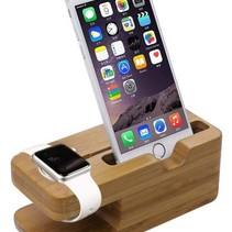 Bamboo Wooden Docking Station Dock for Apple Watch and iPhone