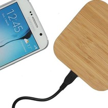 Universele Houten Wireless Plate Draadloze Oplader Oplaad Pad Vierkant