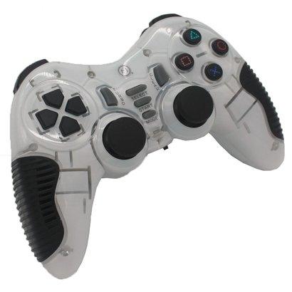 Geeek 2,4 GHz Dual Shock Wireless Controller Gamepad Joystick Weiß