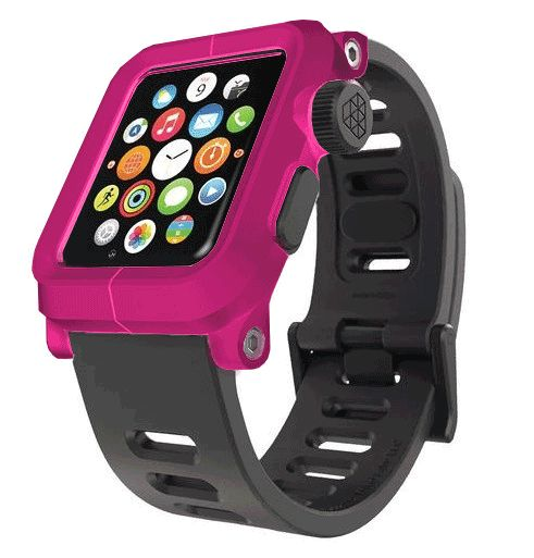 EPIK Polycarbonate Case met Silicone Band Apple Watch 42mm Pink Roze
