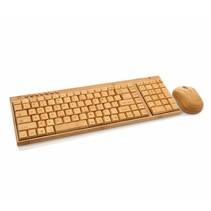 Wooden Bamboo Keyboard with Mouse