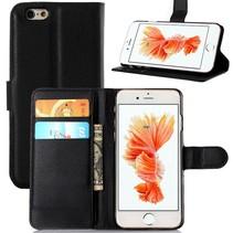 Zwart Leder Booktype Hoesje Wallet Case voor iPhone 6 / 6S Plus