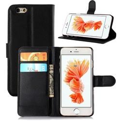 Geeek Zwart Leder Booktype Hoesje Wallet Case voor iPhone 6 / 6S Plus