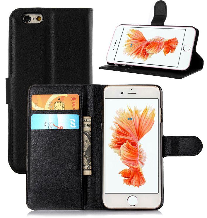 Zwart Leder Booktype Hoesje Wallet Case voor iPhone 6 - 6S Plus