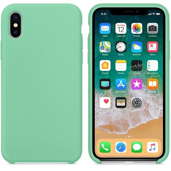 Hoogwaardige iPhone X Silicone Case Cover Hoes Mintgroen
