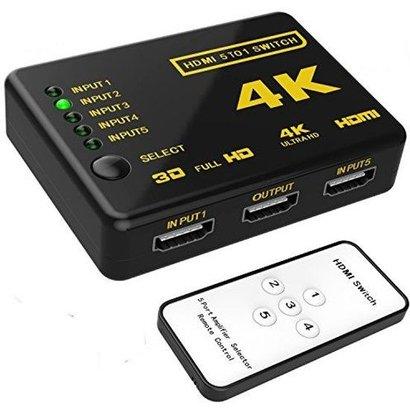 Geeek HDMI Switch 5 Poorts met Afstandsbediening Ultra HD 4K 3D