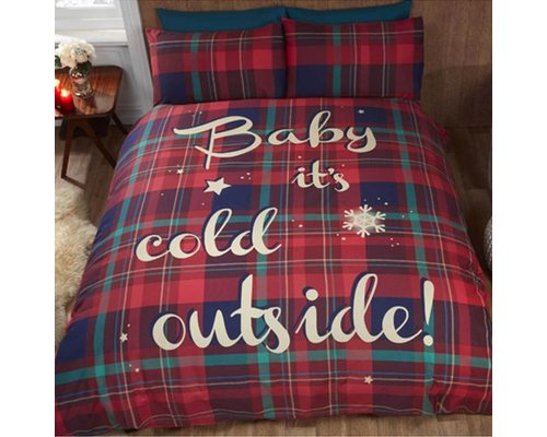Discounter Dekbedovertrek Baby Its Cold Outside rood