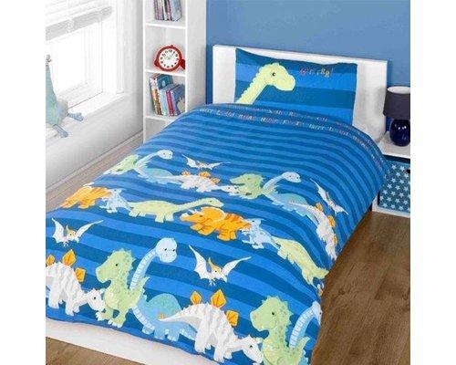 Dekbedovertrek Baby Dino's blauw