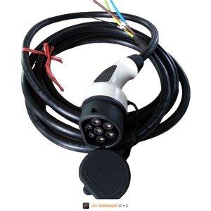 Dostar Anschlusskabel mit Typ 2 Stecker (weiblich/female), 32A, 3 Phasen - Wunschlänge