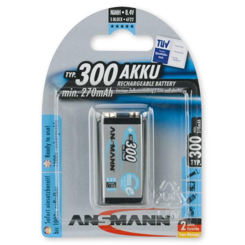 9v blok oplaadbare batterij ansmann maxe 300 mah. Black Bedroom Furniture Sets. Home Design Ideas
