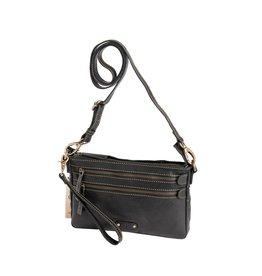 dR Amsterdam Leren dames schoudertasje - clutch Black