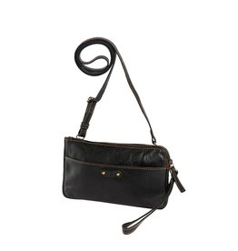 dR Amsterdam Leren dames schoudertasje en/of clutch Black
