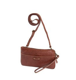 dR Amsterdam Leren dames schoudertasje en/of clutch Chestnut
