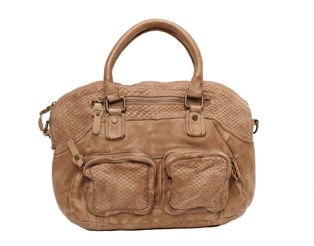 Wou Wou A4 Front Pocket Handbag Stone