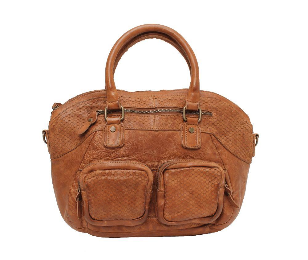 Wou Wou A4 Front Pocket Handbag Chestnut