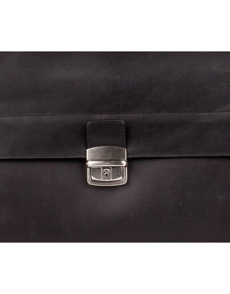Burkely Business Bag, Aktetas 3 vaks met flap over Black