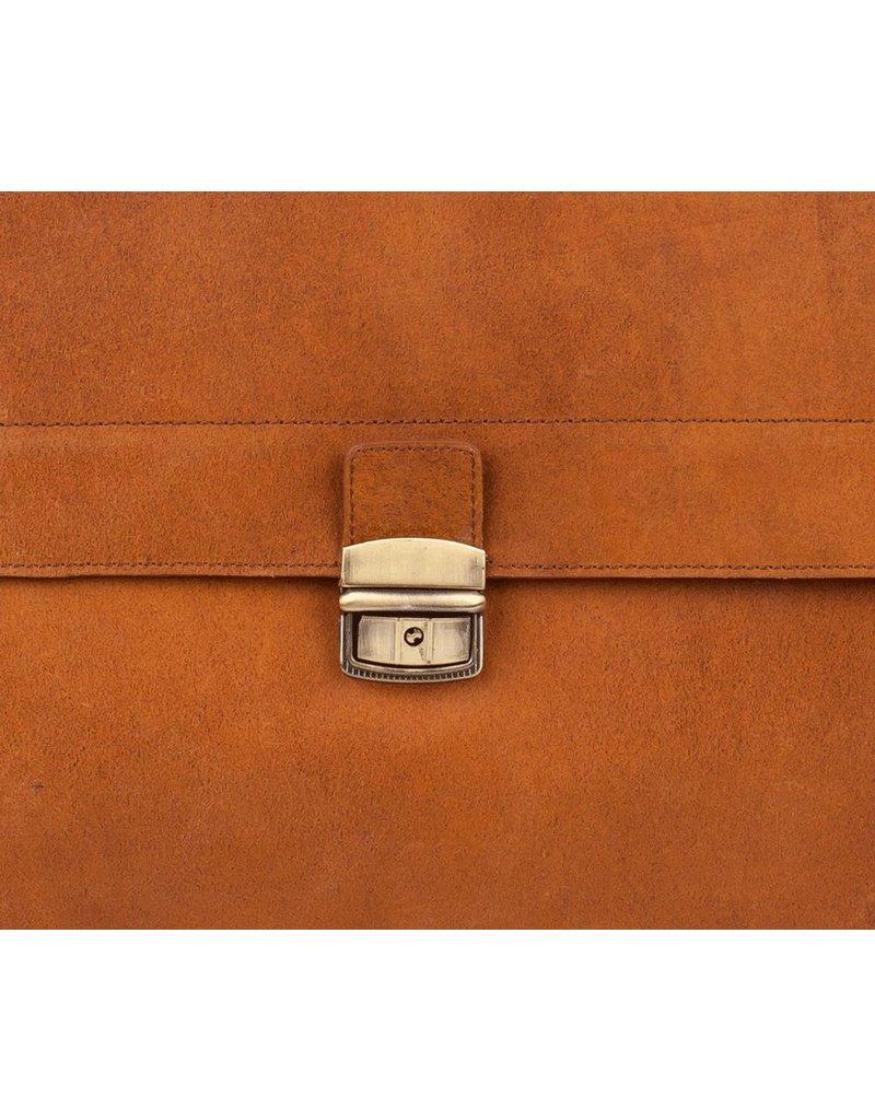 Burkely Business Bag, Aktetas 3 vaks met flap over Cognac