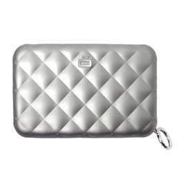 Ogon Designs Dames Creditcardhouder Quilted Zipper Silver