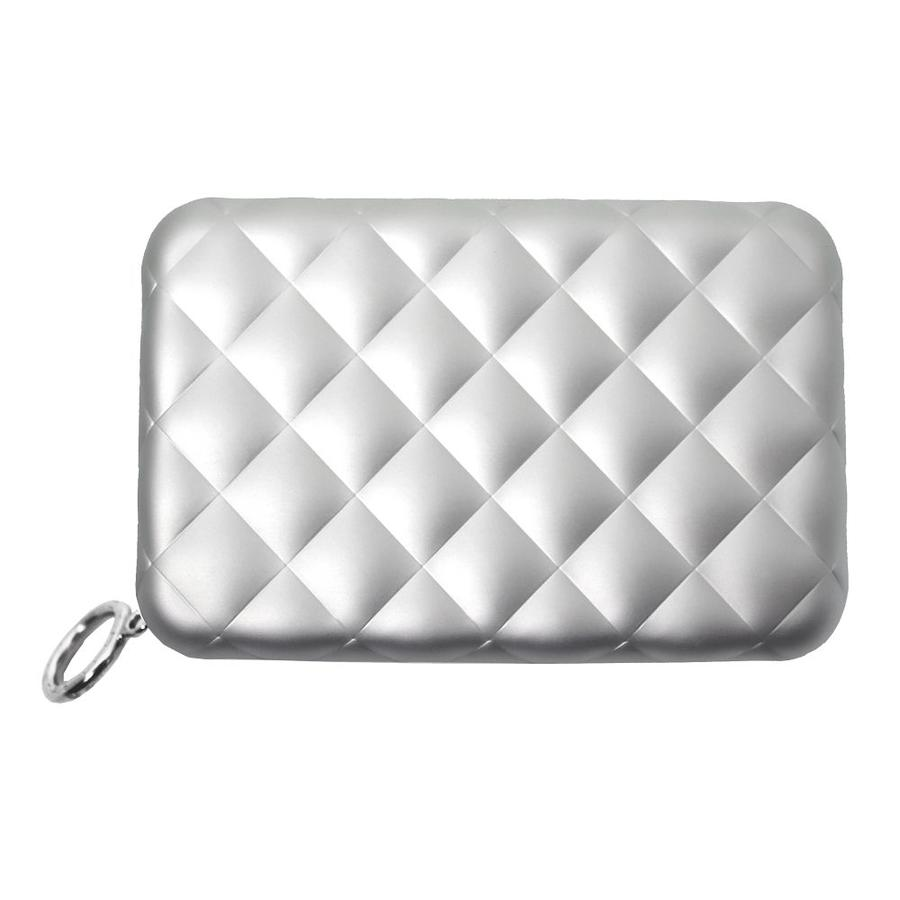 Ogon Dames Creditcardhouder Quilted Zipper Silver