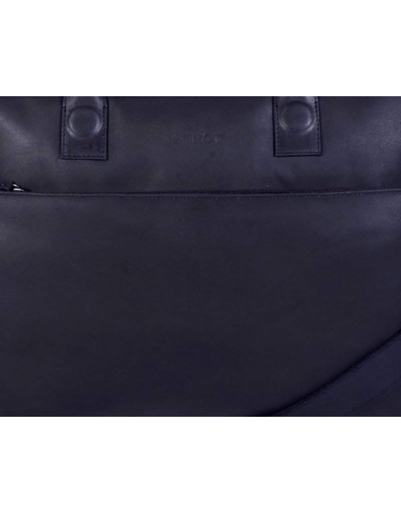 DSTRCT Fletcher Street Leren Business Laptoptas 17 inch Black