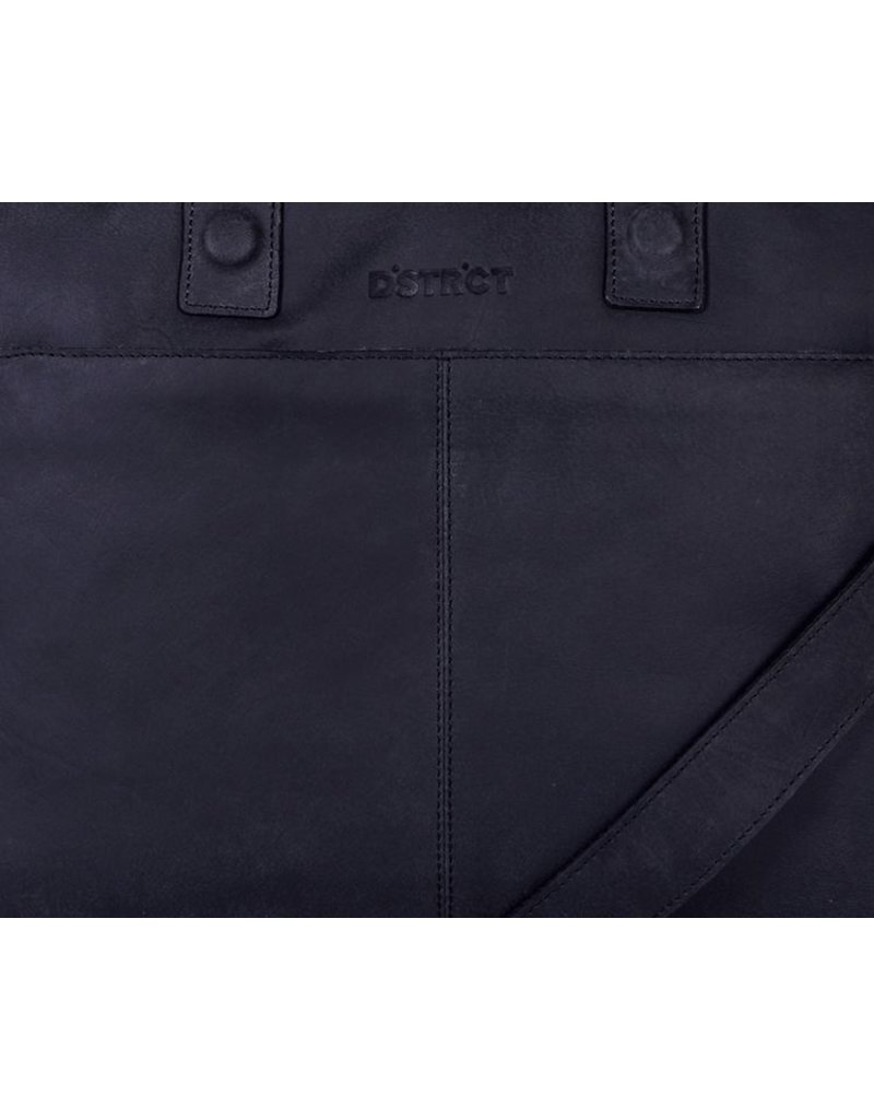 DSTRCT Wall Street Leren Business Laptoptas 15,4 inch Black