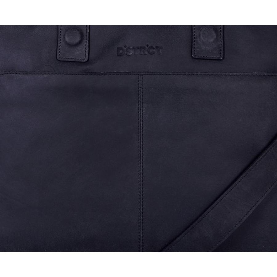 DSTRCT ALFA Wall Street Leren Laptoptas 15,4 inch Black