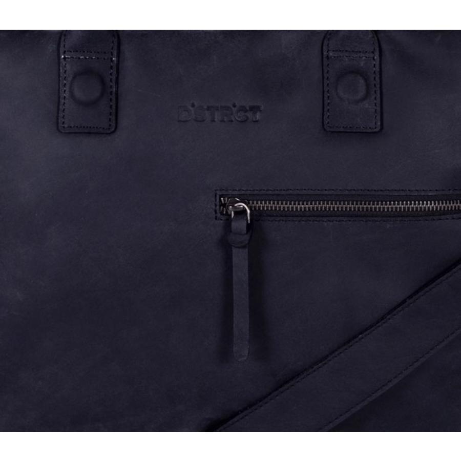 DSTRCT Wall Street 2-vaks Leren Business Laptoptas 15,4 inch Black